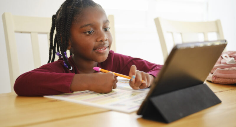 Black girl learning online