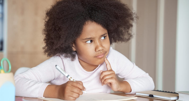 Black girl thinking